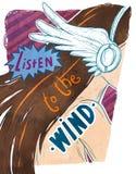Luister aan de wind Stock Foto