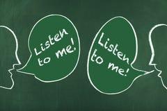 Luister aan me/Besprekings Communicatie Probleem stock afbeeldingen