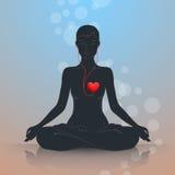 Luister aan uw hart Lotus Position Stock Foto's