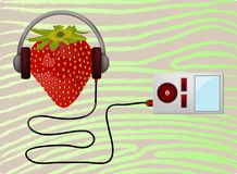 Luister de muziekspeler van Strawbery vector illustratie