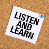 Luister en leer stock afbeelding