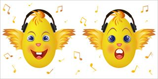 Luisteren de roze hoofdtelefoons van het Emoticonkuiken muziek Royalty-vrije Stock Afbeelding
