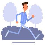 Luistert de jogging van de beeldverhaal jonge mens en aan muziek Royalty-vrije Stock Fotografie