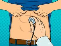 Luistert maag door de vector van het stethoscooppop-art stock illustratie
