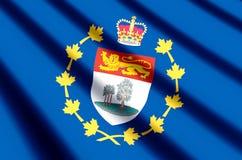 Luitenant-gouverneur van de het kleurrijke golven van Prins Edward Eilanden en illustratie van de close-upvlag vector illustratie