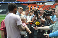 Luiz Adriano and reporters Royalty Free Stock Images