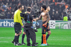 Luiz Adriano talks to the referee after the game Royalty Free Stock Images
