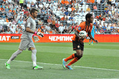Luiz Adriano took the ball from the goalkeeper Royalty Free Stock Image