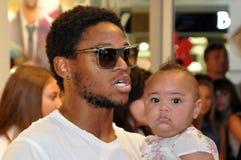 Luiz Adriano y su hija Foto de archivo