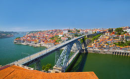 Cityscape of Porto with Luis Bridge across the Douro river Stock Photo