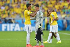 Luiz Gustavo and Julio Cesar  Coupe du Monde 2014 Royalty Free Stock Image