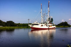 Luizjana garneli łódź zdjęcia stock