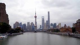 Lujiazhui Finance District, view from Suzhou Creek stock photo
