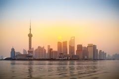 lujiazui上海地平线日出 免版税库存照片