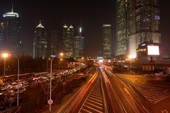 Lujiazui en la noche Foto de archivo libre de regalías