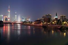 Lujiazui finance&Trade Strefa kyline przy noc zdjęcia stock
