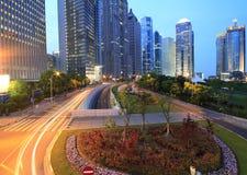 Lujiazui finance&Trade Strefa nowożytny miastowy przy nig obraz royalty free