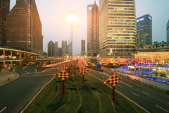 Lujiazui Finance&Trade Zone of modern urban architecture backgro. The century avenue of  street scene at night in shanghai Lujiazui,China Stock Photography