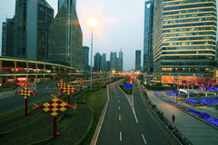 Lujiazui Finance&Trade Zone of modern urban architecture backgro. The century avenue of  street scene at night in shanghai Lujiazui,China Stock Images