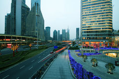 Lujiazui Finance&Trade Zone of modern urban architecture backgro Stock Photos