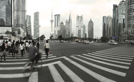 Lujiazui Finance&Trade Zone of modern urban architecture backgro. The century avenue of  street scene of people walking hurriedly in shanghai Lujiazui,China Royalty Free Stock Photo