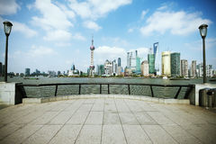 Lujiazui Finance&Trade Zone of Shanghai landmark skyline at city Royalty Free Stock Photos