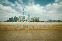 Lujiazui Finance&Trade Zone of Shanghai landmark skyline at city Royalty Free Stock Photo