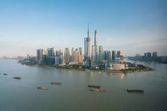 Lujiazui område av Shanghai Arkivfoton