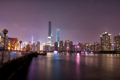 Lujiazui Skyline at Night Stock Photos