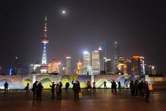 Lujiazui van Shanghai bij nacht Stock Foto's