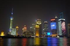 Lujiazui van Shanghai bij nacht Royalty-vrije Stock Foto's