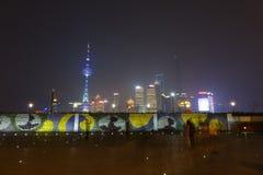 Lujiazui van Shanghai bij nacht Royalty-vrije Stock Foto