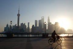 Lujiazui van Shanghai bij zonsopgang Royalty-vrije Stock Afbeeldingen