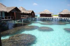 Lujo coralino de la casa de planta baja del agua del paraíso de Maldivas Imagenes de archivo