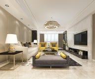 lujo de la representación 3d y sala de estar moderna con el sofá de cuero foto de archivo