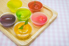 Luk chup jelly-Thai traditional dessert. Fruit-shape desserts made of mung-bean flour in colorful gelatin royalty free stock images