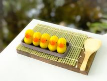 Luk Chup - Thai miniature confection made of chickpea and sugar glazing with gelatin Stock Photography
