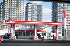 Luk Oil station in the city Royalty Free Stock Image