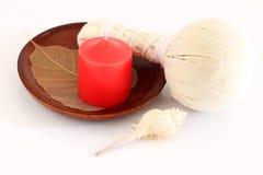 Luk Pra Kob for Massage stamps. Luk Pra Kob and candle  for Massage stamps Royalty Free Stock Image