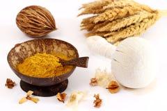 Luk Pra Kob for Massage stamps. Luk Pra Kob and Turmeric powder  for Massage stamps Stock Photo