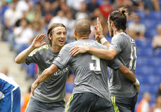 Luka Modric (L) Pepe (C) en Gareth Bale (r) van Real Madrid Stock Foto's