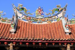 Lukang, Taiwan. Lukang Old Town, Taiwan. Xinzu Temple decorations royalty free stock images
