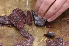 Lukanka is a Bulgarian salami unique to Bulgarian cuisine royalty free stock photos