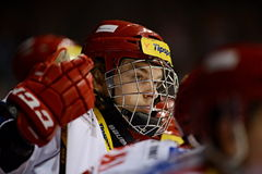 Lukas Jasek. PARDUBICE 23/01/2015 _ Seventeen year old youngster's of Ocelari Trinec Lukas Jasek *1997 has been pushed to extraleague squad and youth stock image