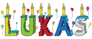 Lukas male first name bitten colorful 3d lettering birthday cake with candles and balloons.  Stock Photography