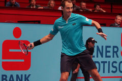 Lukas Rosol (CZE). VIENNA, AUSTRIA - OCTOBER 22, 2015: Lukas Rosol (CZE) during his 2nd round match against Jo-Wilfried Tsonga (FRA) at the Erste Bank Open in Royalty Free Stock Image