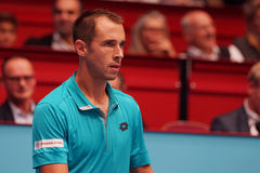 Lukas Rosol (CZE). VIENNA, AUSTRIA - OCTOBER 22, 2015: Lukas Rosol (CZE) during his 2nd round match against Jo-Wilfried Tsonga (FRA) at the Erste Bank Open in Royalty Free Stock Photo