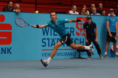 Lukas Rosol (CZE). VIENNA, AUSTRIA - OCTOBER 23, 2015: Lukas Rosol (CZE) during his quarter final match against Gael Monfils (FRA) at the Erste Bank Open in Stock Image