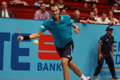 Lukas Rosol (CZE). VIENNA, AUSTRIA - OCTOBER 23, 2015: Lukas Rosol (CZE) during his quarter final match against Gael Monfils (FRA) at the Erste Bank Open in Stock Photos