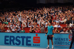 Lukas Rosol (CZE). VIENNA, AUSTRIA - OCTOBER 23, 2015: Lukas Rosol (CZE) during his quarter final match against Gael Monfils (FRA) at the Erste Bank Open in Stock Images